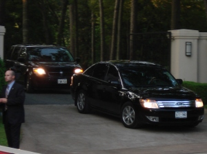 Senator Obama leaving event #1 - He's in the Ford with the blacked out windows!