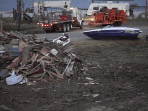 a boat and debris