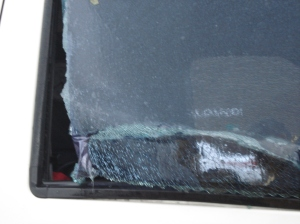 Debris Breaks News Truck Window