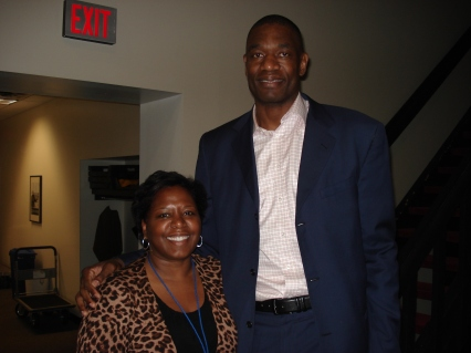 Mary Benton and Dikembe Mutombo